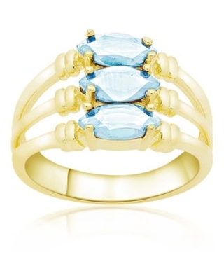 Dolce Giavonna Gold Over Sterling Silver Marquise Gemstone Three Band Ring (December - 7 - Blue - Topaz)
