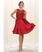 Burgundy Lace Layered Formal Short Dress