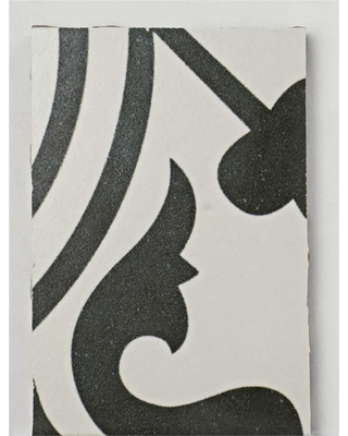 Merola Tile Arte White Encaustic Porcelain Floor and Wall Tile - 3 in. x 4 in. Tile Sample, White and Black / Low Sheen