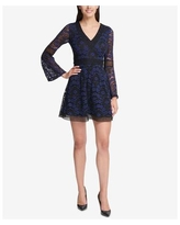Kensie Womens Lace Fit & Flare Dress, Blue, 14