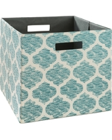 Fabric Cube Storage Bin 13 - Teal - Threshold, Teal Pattern