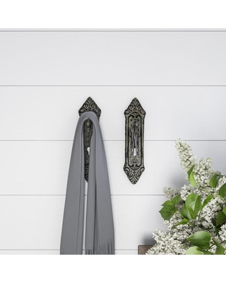 Hastings Home Decorative Key in Lock Design Hooks-Cast Iron Shabby Chic Rustic Wall Mount Hooks for Coats, Hats, Jewelry, and More by Hastings Home