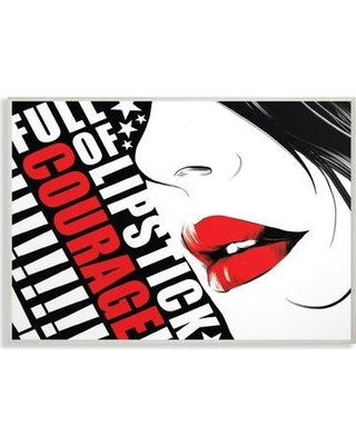 """Wrought Studio 'Red and Black Full Of Lipstick Courage Glam Fashion Poster' Graphic Art Print BF194813 Size: 10"""" H x 15"""" W x 0.5"""" D Format: Wall Plaque"""