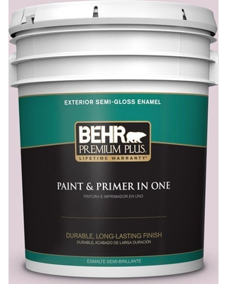 BEHR Premium Plus 5 gal. #690E-2 Heather Rose Semi-Gloss Enamel Exterior Paint and Primer in One