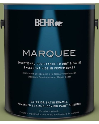 BEHR MARQUEE 1 gal. #410F-5 Boston Fern Satin Enamel Exterior Paint and Primer in One