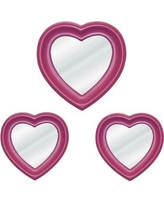 Harriet Bee 3 Piece Heart Mirror Set HBEE1079 Finish: Pink