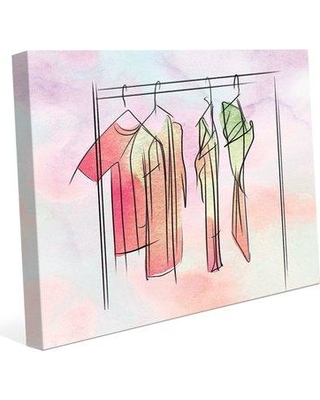"""Bloomsbury Market 'Thulian Dresses on Hangers' Graphic Art Print on Canvas BBMT1040 Size: 20"""" H x 24"""" W x 1.5"""" D"""