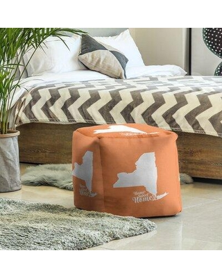 East Urban Home Home Sweet NYC Cube Ottoman EBJC3107 Upholstery Color: Orange