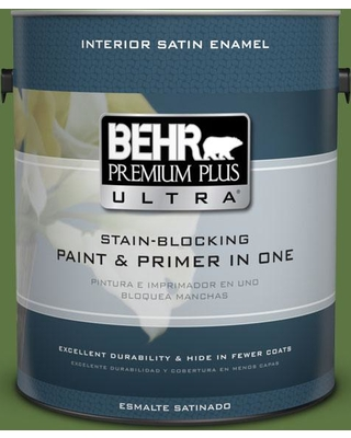BEHR Premium Plus Ultra 1 gal. #420D-7 Dill Pickle Satin Enamel Interior Paint and Primer in One