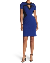 FOCUS BY SHANI Ponte Dress With Leather Detail, Size 10 in Black/Blue at Nordstrom Rack