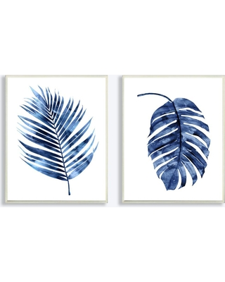 """Stupell Industries 10 in. x 15 in. """"Indigo Dark Blue Palm Frond Plant Painting Duo"""" by Artist Melonie Miller Wood Wall Art(2-pieces), Multi-Colored"""