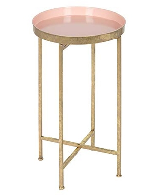 Kate and Laurel Celia Round Metal Foldable Tray Accent Table, Pink with Gold Base