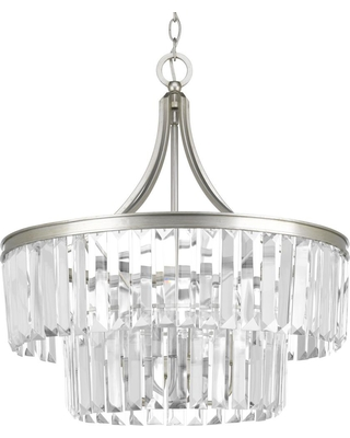 Progress Lighting Glimmer Collection 5-Light Silver Ridge Pendant with Clear Glass