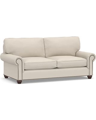 """Webster Roll Arm Upholstered Sofa 85"""" Bronze NH, Down Blend Wrapped Cushions, Performance Brushed Basketweave Oatmeal"""