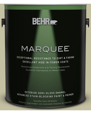 BEHR MARQUEE 1 gal. #S350-3 Washed Olive Semi-Gloss Enamel Exterior Paint and Primer in One