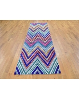 """One-of-a-Kind Hand-Knotted Pink/Blue/Green 3' x 12'3"""" Runner Area Rug Oriental Rug Galaxy"""