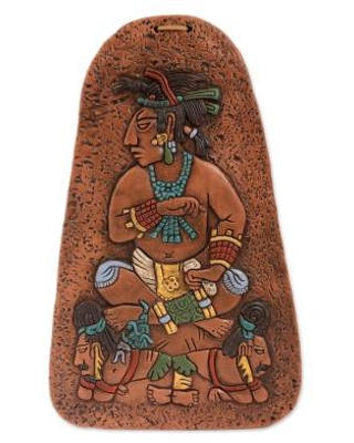 Handcrafted Mayan-Themed Ceramic Plaque from Mexico