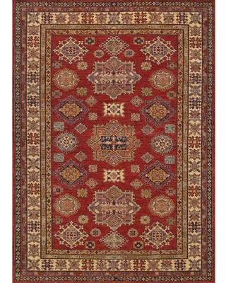 Pasargad Kazak Hand-knotted Red-ivory Lamb's Wool Area Rug (6' x 9') - 6' x 9' (Red - 6' x 9')