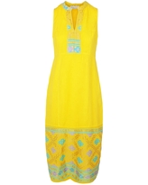 Women's Recycled Yellow Cotton Split Neck Sleeveless Maxi Linen Dress With Embroidered Panels - Sunrise & Lavender Small Haris Cotton