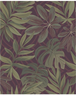 A-Street 56.4 sq. ft. Nocturnum Maroon (Red) Leaf Wallpaper