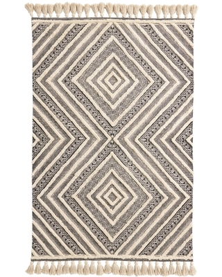 Black and Ivory Tufted Diamond Area Rug - Cotton - 4' x 6' by World Market