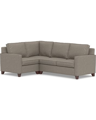 Cameron Square Arm Upholstered Right Arm 3-Piece Corner Sectional, Polyester Wrapped Cushions, Performance Chateau Basketweave Light Gray