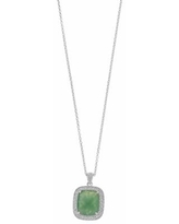 """SIRI USA by TJM Sterling Silver Green Ice & White Topaz Halo Pendant, Women's, Size: 18"""""