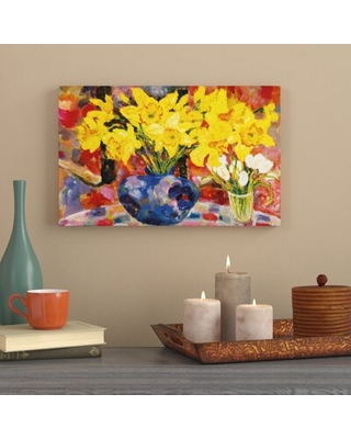 """'Large Blue Vase' Watercolor Painting Print on Wrapped Canvas World Menagerie Size: 16"""" H x 24"""" W x 2"""" D"""