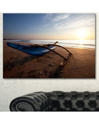 """Design Art 'Fishing Boat in Sri Lanka Beach' Photographic Print on Wrapped Canvas PT12758- Size: 30"""" H x 40"""" W"""
