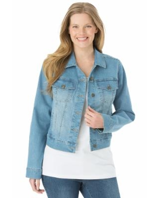 Plus Size Women's Stretch Denim Jacket by Woman Within in Light Stonewash (24 Wide) | Spandex/Cotton