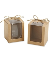 Kate Aspen Kraft Style Gift Boxes for Stemless Wine Glass, 9-Ounce, Set of 12