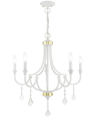Livex Lighting Glendale 5-Light White Chandelier with Clear Crystals