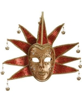 "Tori Home 8.5"" Gold and Red Glittered Ornate Minstrel Masquerade Mask Christmas Ornament XN1152-GO/RE"