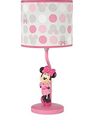 Disney Minnie Mouse Polka Dots Lamp Base And Shade Light Pink White Grey Bright Raspberry From Bhg