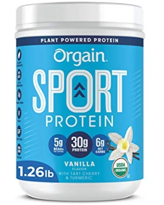 Orgain Vanilla Sport Plant-Based Protein Powder, Made with Organic Turmeric, Ginger, Beets, Chia Seeds, Cherry, Brown Rice and Fiber, Vegan, No Gluten, Soy or Dairy, Non GMO - 1.26 lbs