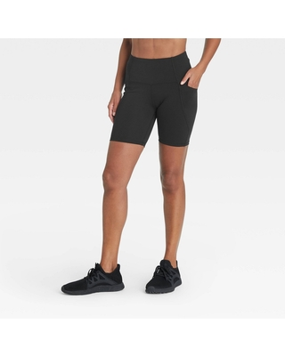 """Women's Sculpted Linear High-Rise Bike Shorts 7"""" - All in Motion Black S"""