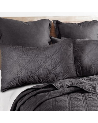 Levtex Home Washed Linen Full/Queen Quilt in Charcoal