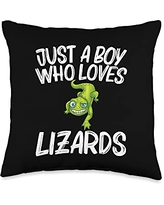 Cool Lizard Gift Salamander Zoo Keeper Clothing Funny Lizard Lover Design For Boys Kids Reptile Pet Animal Throw Pillow, 16x16, Multicolor