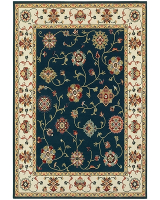 """Khymer Timeless Borders Traditional Area Rug (9'10"""" x 12'10"""" - Navy/Cream)"""