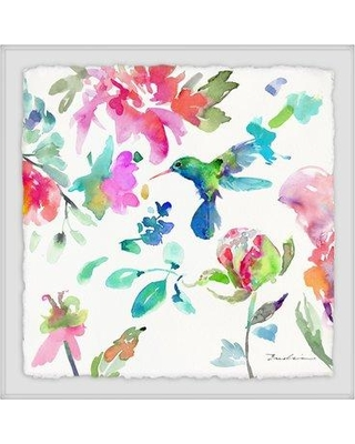 """Ebern Designs 'Hearts That Flutter' Framed Watercolor Painting Print BF020879 Size: 24"""" H x 24"""" W x 1.5"""" D"""