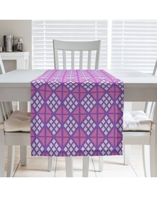 Two Color Diamonds Table Runner (16 x 72 - Polyester - Purple & Pink)