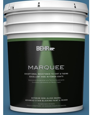 BEHR MARQUEE 5 gal. #M500-5 Sojourn Blue Semi-Gloss Enamel Exterior Paint and Primer in One