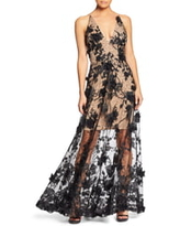 Women's Dress The Population Sidney Deep V-Neck 3D Lace Gown, Size X-Small - Black