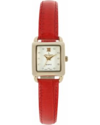Peugeot Women's Leather Watch, Red