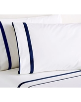 Twilight Morgan Banded 400-Thread-Count Organic Extra Pillowcases, Set of 2, Standard