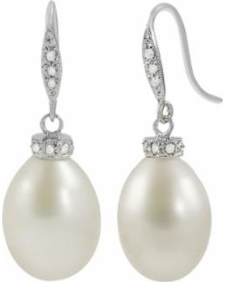 14k White Gold Freshwater Cultured Pearl and Diamond Accent Drop Earrings, Women's
