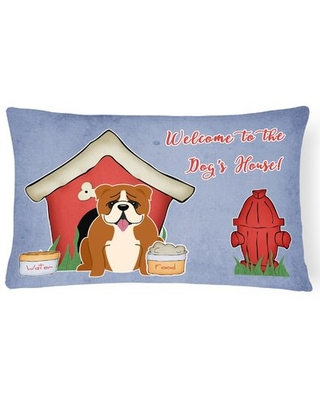 Red/White Dog House Indoor/Outdoor Lumbar Pillow East Urban Home