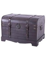 Vintiquewise Antique Style Black Wooden Steamer Trunk, Coffee Table - Brown