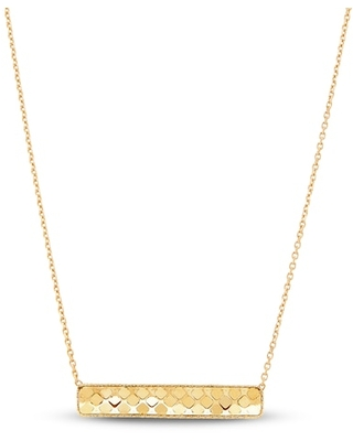 Jared The Galleria Of Jewelry Italia D'Oro Small Bar Chain Necklace 14K Yellow Gold