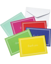 Multi- Color Thank You Cards with Solid White Double Line (50 count), Multi-Colored